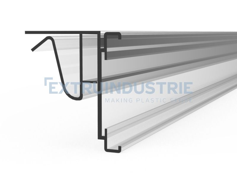 ESL profile for glass shelves with soft hinge